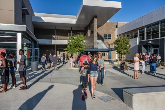 Students and parents walk through campus at the first Castaic High School Back to School Night Tuesday. | Photo: Cory Rubin/The Signal.