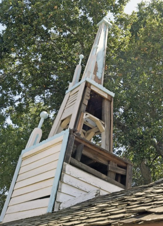 Pieces of steeple atop the Ramona Chapel were removed to be re-engineered at Heritage Junction in Newhall on Wednesday, September 11, 2019. | Photo: Dan Watson/The Signal.