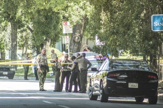 Deputies investigated a deputy-involved shooting in which a suspect was killed near Ave. Stanford Thursday afternoon. September 12, 2019. | Photo: Bobby Block/The Signal.