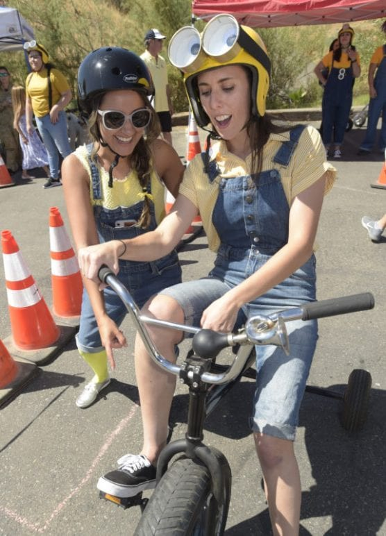 Monica Dephia, left, and Jennifer Roecklein of the Minions team prepare to compete during the Child & Family Center's 3rd annual Trike Derby held at Wolf Creek Brewery in Santa Clarita on Saturday, September 21, 2019.   Photo: Dan Watson/The Signal.