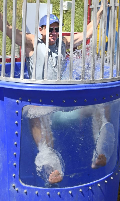Santa Clarita Mayor Pro Tem Cameron Smyth gets dumped in the dunk tank during the Child & Family Center's 3rd annual Trike Derby held at Wolf Creek Brewery in Santa Clarita on Saturday, September 21, 2019.   Photo: Dan Watson/The Signal.