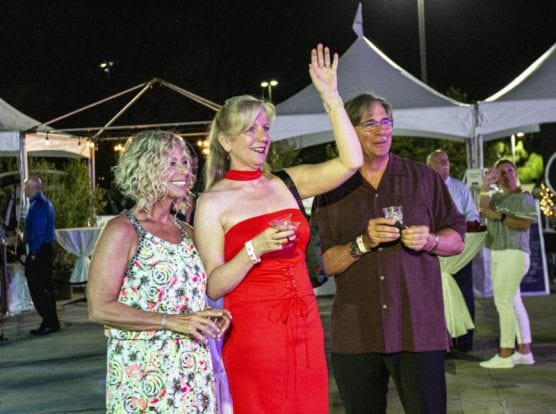 """Amy Daniels joined other guests at """"Cocktails on The Roof,"""" an event benefiting the WiSH Foundation, on September 6, 2019. 