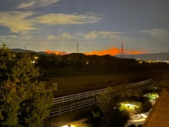 website - View of the Saddleridge Fire from West Creek-Valencia, Friday, October 11, 2019, at 2:33 a.m. | Photo: Helena Munoz.