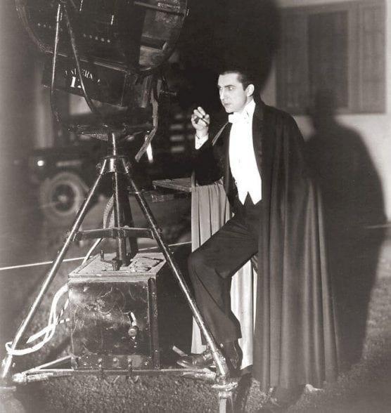 """Actor Bela Lugosi wearing cape in character as Count Dracula on the set of the 1931 film """"Dracula."""""""