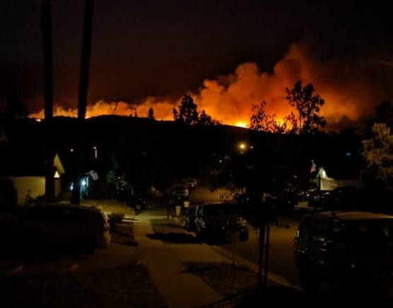 @LACoFireAirOps Twitter account, shows the  Saddleridge Fire growing near Interstate 210.