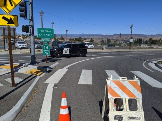 CHP hard closure of Highway 14 northbound onramp at Golden Valley Road in Canyon Country.