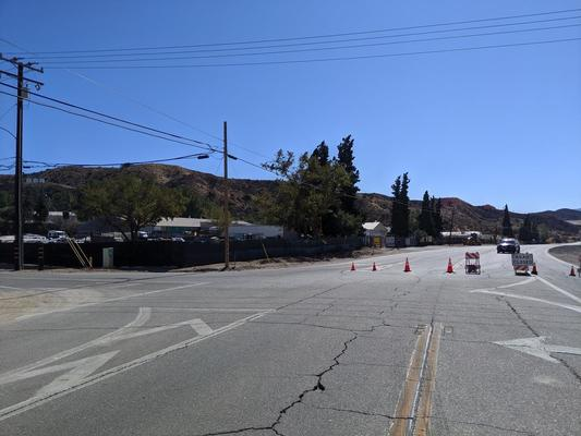 Hard closure of Sierra Highway at Davenport due to the Tick Fire on Friday, October 25, 2019.