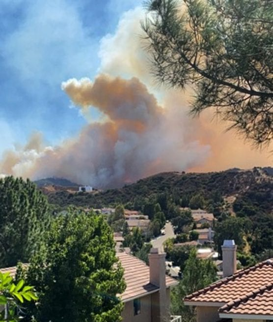 smoke from the Saddleridge Fire as seen from Hidden Valley, Newhall, Santa Clarita Valley, Friday, October 11, 2019.