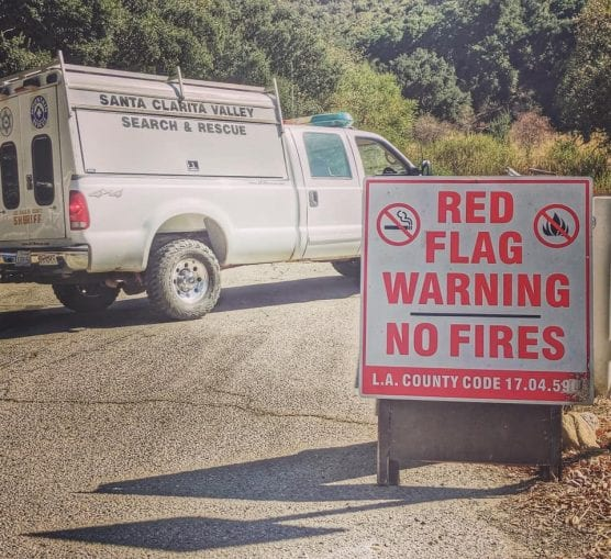 la county search and rescue - red flag warning - santa ana winds