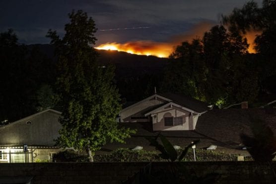 The Saddleridge Fire burning in the northern San Fernando Valley early Friday morning was visible from the Valencia Hills neighborhood in southern Valencia. | Photo: Bobby Block/The Signal.