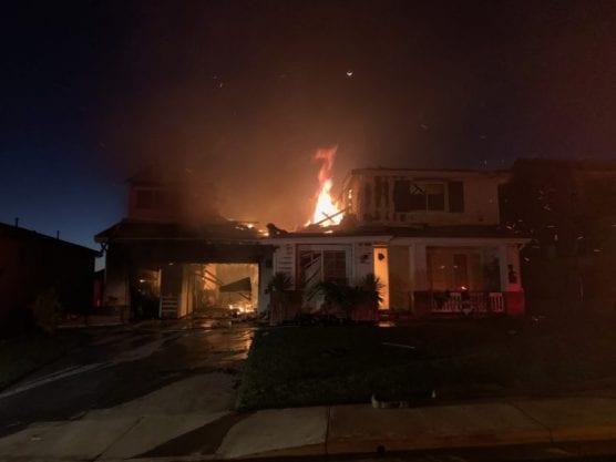 Home burning in Tick Fire in Santa Clarita, October 24, 2019.