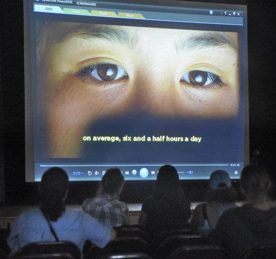"Attendees watch the video entitled ""Screenagers"" at Castaic Middle School on Wednesday, October 2, 2019. 