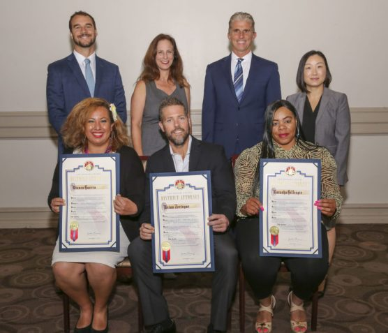 The Los Angeles County District Attorney's Office honored three people Thursday for courageous acts in stepping up in the face of danger and helping to keep the community safe from violent crime. Standing are (from left): Deputy District Attorney David Nary; Deputy District Attorney Tal Kahana; James Garrison, director, Bureau of Central Operations; and Deputy District Attorney Diane Hong. Seated are (from left): Courageous Citizen Award recipients Bianca Guerra, Brian Zeringue of Valencia and Latasha Gillespie. | Photo: Los Angeles County District Attorney's Office.