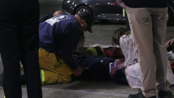 Los Angeles County Fire Department officials responded to reports of a brawl in the Westfield Valencia Town Center parking garage near Black 'N Blue around 2 a.m. Sunday. | Photo: Courtesy of Austin Dave.