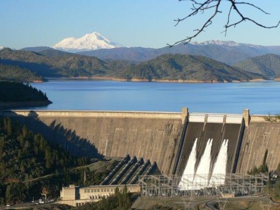 The Shasta Dam across the Sacramento River in California.