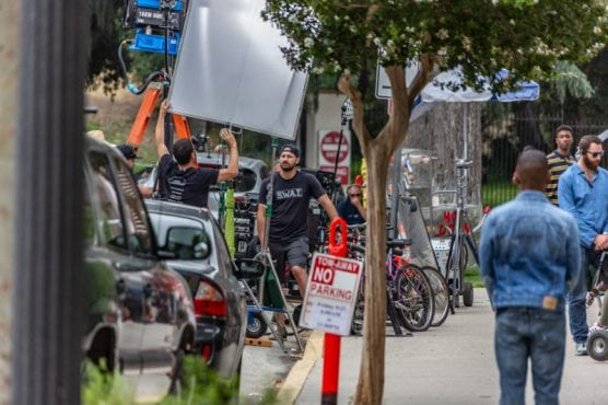 "The CBS show ""S.W.A.T."" films on 6th Street between Main Street and Newhall Avenue on a recent Friday afternoon. 