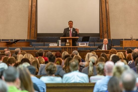 """Dr. Jonathan Sandberg speaks at the """"Healing from Trauma and Loss"""" seminar at The Church of Jesus Christ of Latter-Day Saints in Saugus Monday night. 