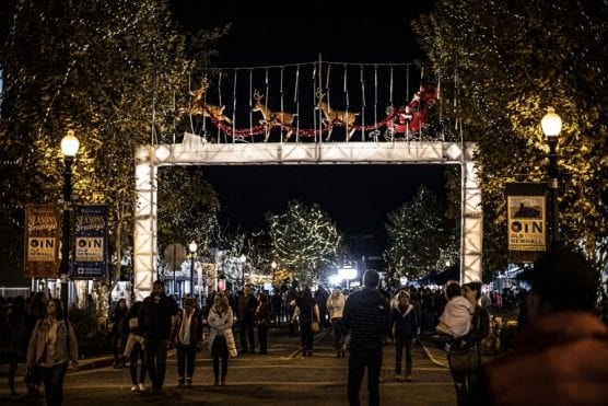Old Town Newhall was adorned with bright holiday decorations for the Light Up Main Street holiday celebration held Saturday night, November 23, 2019. | Photo: Bobby Block / The Signal.