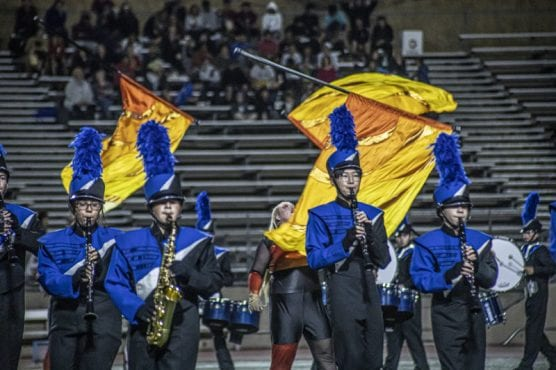 Members of the Saugus High School marching band perform their routine at the 36th Annual Rampage band competition on November 2, 2019. | Photo: Bobby Block / The Signal.