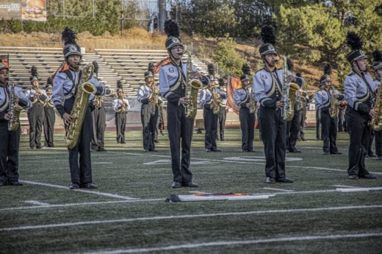 Members of the Golden Valley High School Marching Band stand in formation while performing at the 36th annual Rampage band competition Saturday afternoon, November 2, 2019. | Photo: Bobby Block / The Signal.