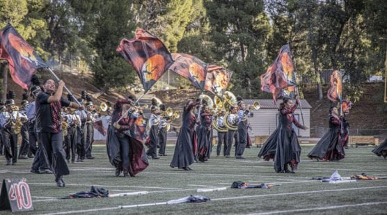 Members of Golden Valley High School's color guard perform at the 36th annual Rampage band competition Saturday, November 2, 2019. | Photo: Bobby Block / The Signal.