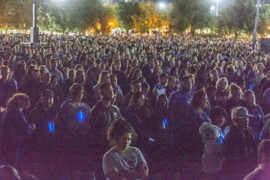 Thousands gather at Central Park for the Saugus Strong Vigil Sunday night. | Photo: Cory Rubin / The Signal.