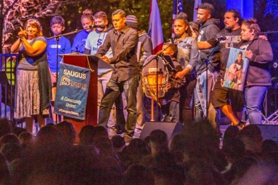 The family of Dominic Blackwell speaks at the Saugus Strong Vigil Sunday night. | Photo: Cory Rubin / The Signal.