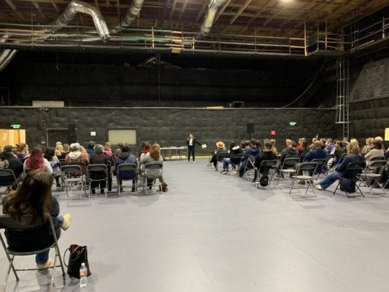About 100 people, mostly parents and educators, gathered Wednesday night at Santa Clarita Studios to discuss ways to improve students' safety against violence on campuses. | Photo: Tammy Murga / The Signal.