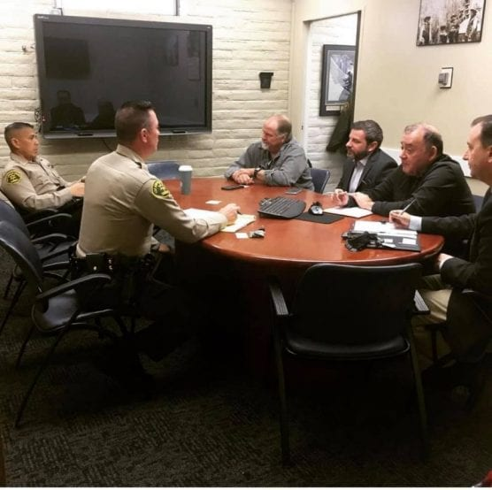 Santa Clarita Valley Sheriff's Station Captain Robert Lewis sits down with local synagogue leaders to discuss safety and security in the Santa Clarita Valley. | Courtesy photo.