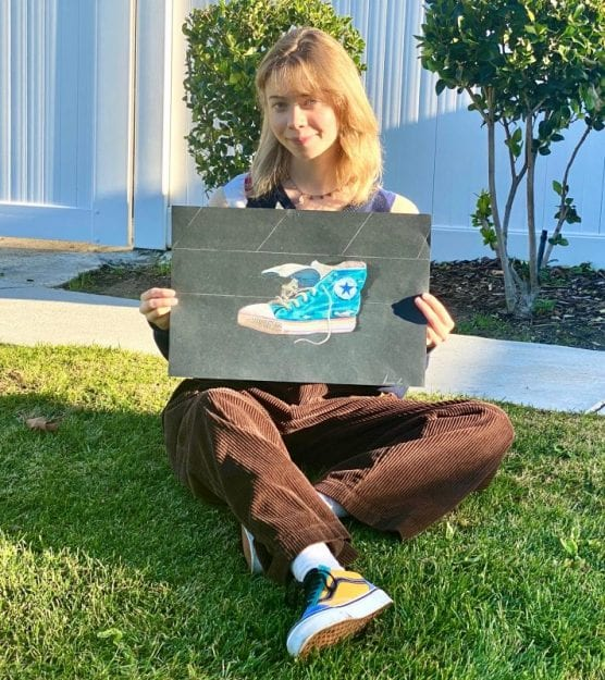 Valencia High senior and artist Lexi Coleman drew a shoe representing the only thing left behind by students running from an active shooter at Saugus High School on November 14, 2019. | Courtesy photo.