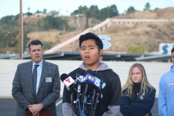 Saugus High School senior and student body president Andrei Mojica speaks at a news conference held Monday as he and his peers return to school for the first time since the deadly shooting Nov. 14. | Photo: Emily Alvarenga / The Signal.