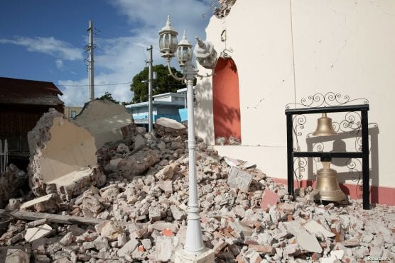 A view of a damaged church after the earthquake in Guayanilla, Puerto Rico, January 9, 2020. REUTERS/Marco Bello via Voice of America.