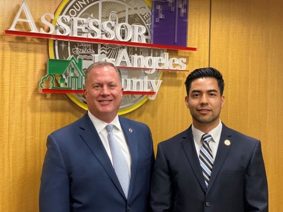 After an exhaustive search, Los Angeles County Assessor Jeff Prang (left) has named Aldo Macias Arellano (right) as the newest member of his Public Affairs team.