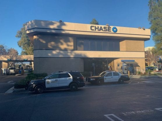 A Chase bank branch on the 24000 block of Valencia Boulevard near City Hall was robbed shortly before 3:30 p.m. on Monday, January 6, 2020. | Photo: Cory Rubin / The Signal.
