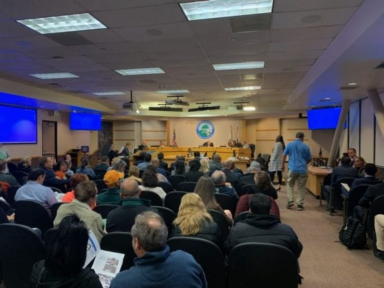 Santa Clarita Valley residents gather to discuss the proposed Patios Connection project at Westfield Valencia Town Center during a city Planning Commission meeting on Tuesday, Jan. 21, 2020. | Photo: Emily Alvarenga / The Signal.