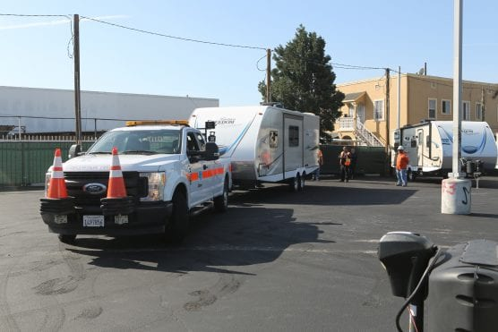 caltrans travel trailers for homeless in south los angeles