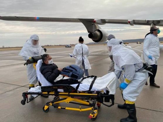 covid-19 - carl goldman on stretcher