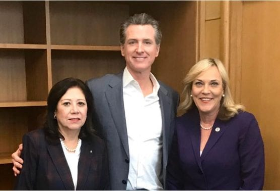 Los Angeles County Supervisors Kathryn Barger (right) and Hilda L. Solis (left) met with Governor Gavin Newsom during the supervisors' annual trip to the Capitol on Tuesday, Feb. 25. Courtesy photo.