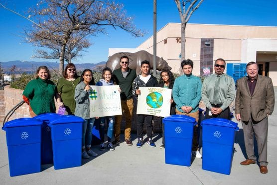 students and recycling bins at golden valley high school