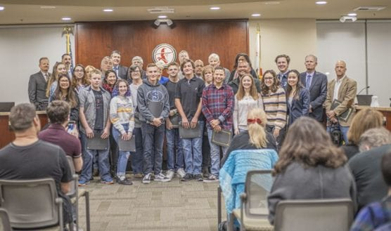 courage -- The William S. Hart Union High School District governing board recognizes Saugus High School students and staff who acted courageously during last year's shooting on campus at the start of their meeting Wednesday night, February 05, 2020. | Photo: Bobby Block / The Signal.