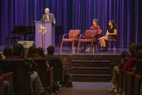 holocaust survivors - Phil Raucher speaks to students at Valencia High School Tuesday morning, February 25, 2020.   Photo: Bobby Block / The Signal.