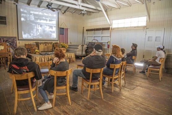 newhallywood 2020 - Residents watch silent films in a historic building at Hart Park in Newhall as part of the William S. Hart Museum's three-day Newhallywood Silent Film Festival on Saturday afternoon, February 15, 2020. | Photo: Bobby Block / The Signal.