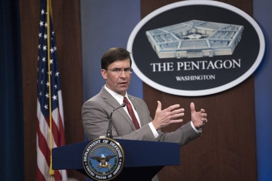 covid-19 fight - Defense Secretary Dr. Mark T. Esper briefs reporters about the department's COVID-19 fight during a news conference at the Pentagon on March 17, 2020. | Photo: Lisa Ferdinando, DOD.