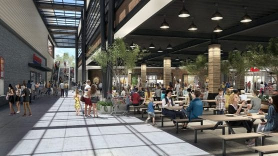appeal - Renderings show the Costco, with a glimpse of the eateries adjacent to the building. Courtesy of Westfield Valencia Town Center.