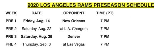 Rams Preseason Schedule