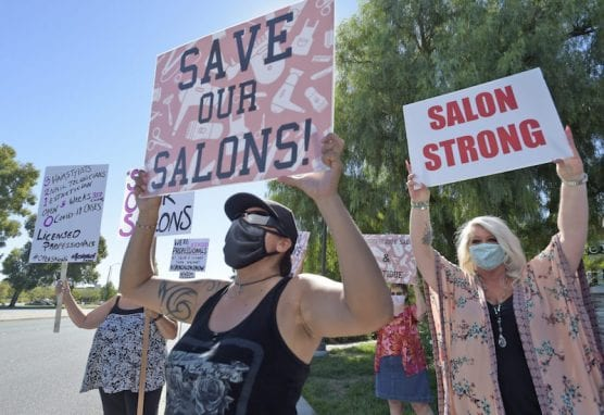 Salons Reopening Rally