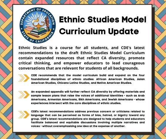 Ethnic Studies Model Curriculum updated recommendations