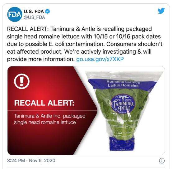 FDA Recall Romaine Lettuce