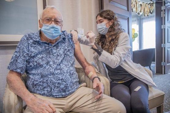 Chalberg receives his COVID-19 vaccine
