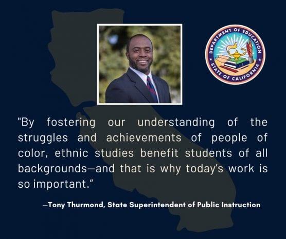 ethnic studies tony Thurmond response